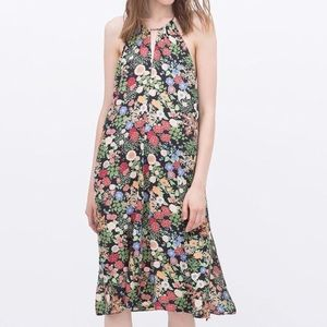 Zara • Floral Halter Midi Dress